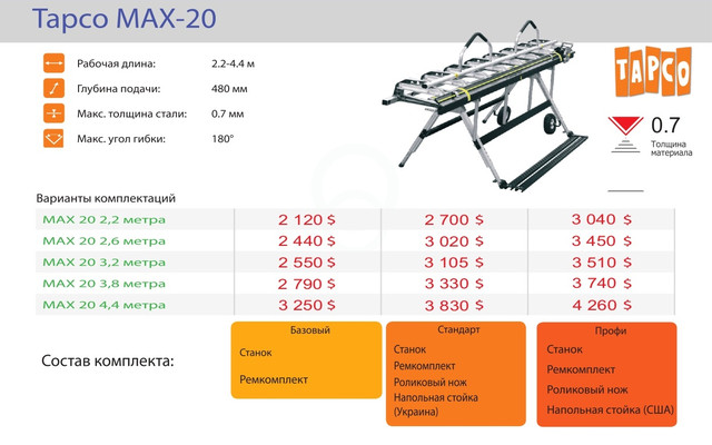 Листогиб Tapco MAX-20
