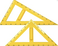 Набір трикутників ( 45º- 45º та 30º - 60º) з тримачами.