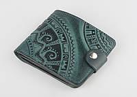 """Зелёный кожаный кошелек ручной работы """"Этно"""""""