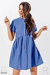 Платье рубашка длины миди с расклешенной юбкой синее, фото 2