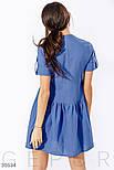 Платье рубашка длины миди с расклешенной юбкой синее, фото 3