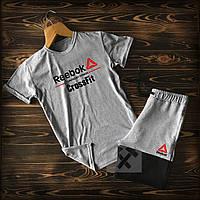 Шорты+футболка Рибок черно-серого цвета