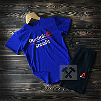 Спортивный костюм шорты и футболка Рибок черно-синего цвета (Reebok Crossfit) летняя модель