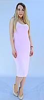 Летнее платье миди нежно-розового цвета из дайвинга, фото 1