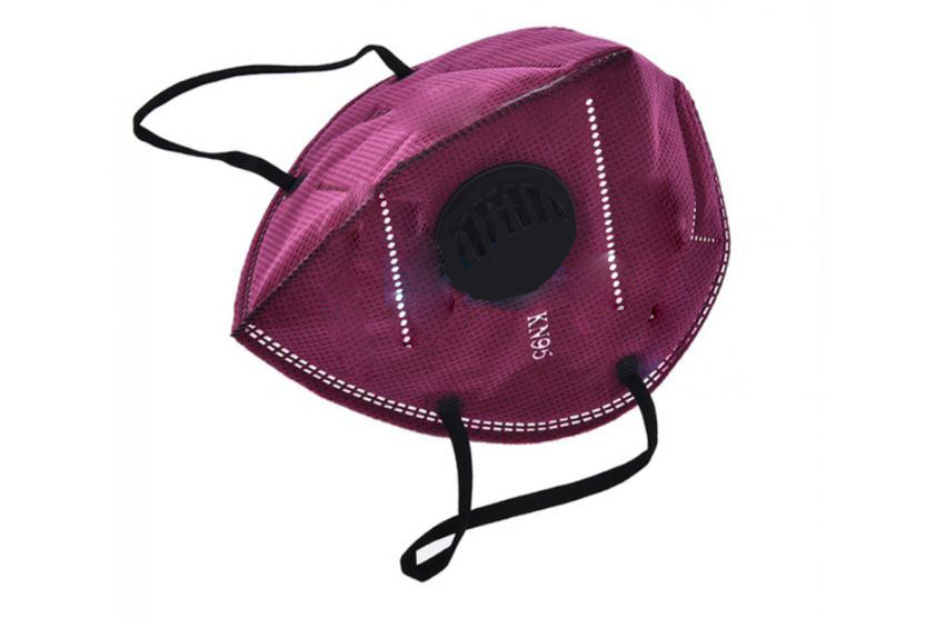 Респиратор маска бордовая пятислойная с угольным фильтром KN95
