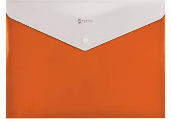 Папка конверт А4 на кнопке с расширением оранжевая O31315-06