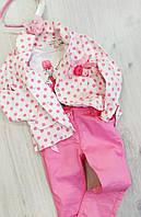 Костюм для девочки тройка (брюки, батник, пиджак) размер 98 , 116 (3  и 6 лет) Турция