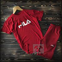 Летний мужской спортивный костюм Fila красного цвета (Фила) 90% хлопок, фото 1