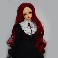 Парик для куклы, волна бургунд (объем 22-24) - длина около 30 см