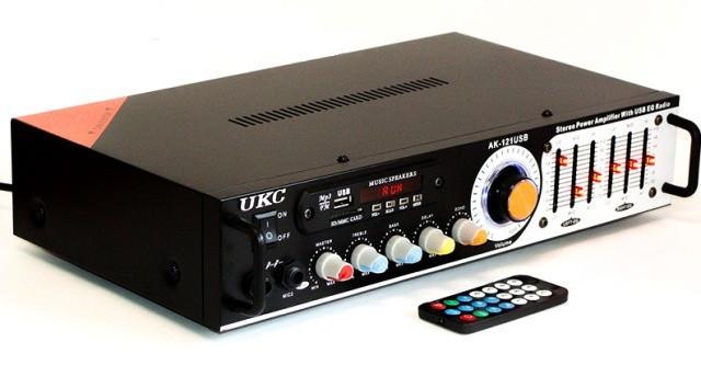 Усилитель Профессиональный UKC AK-121| USB FM| Мощность 2х150Вт + КАРАОКЕ НА 2 МИКРОФОНА