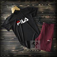 Летние шорты и футболка Fila черно-бордового цвета (Фила) 90% хлопок