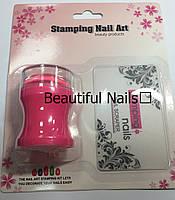 Набор для стемпинга розовый штамп и скрапер Stamping Naill Art