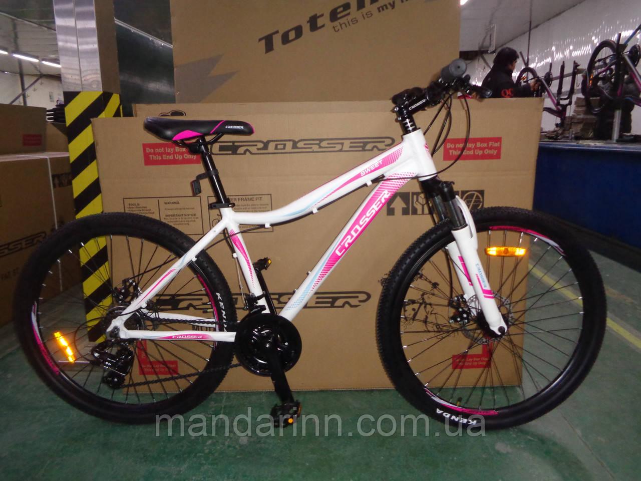 """Велосипед горный алюминиевый Crosser Sweet 26дюймов рама 16"""", Белый."""