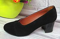 Замшевые женские черные туфли на каблуке