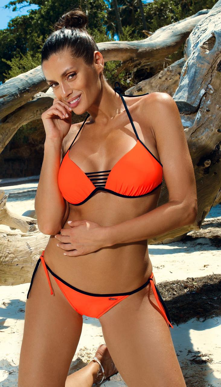 Женский раздельный купальник бикини, оранжевый, пуш ап, Марко