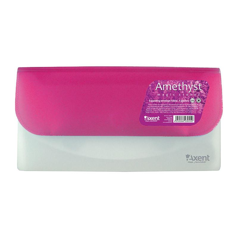 Папка-конверт DL на 4 отделения Аметист (розовая)