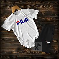 Летний мужской спортивный костюм с принтом Fila (шорты и футболка Фила черно-белый 90% хлопок)