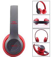 Beats solo2  P47 копия, Bluetooth наушники гарнитура c FM MP3, серые с красным