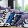 Постельный комплект с листьями на фиолетовом, синем и бежевом, все размеры