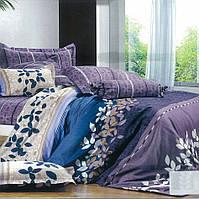 Постельный комплект с листьями на фиолетовом, синем и бежевом, все размеры, фото 1