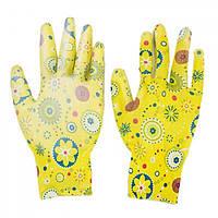 Перчатки рабочие Inter Globus Цветы желтые нейлоновые прорезиненные, 1 пара