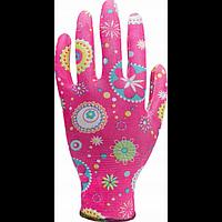 Перчатки рабочие Inter Globus Цветы розовые нейлоновые, 1 пара (цвета в ассортменте)