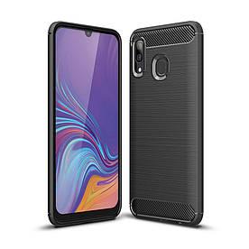 Чехол накладка для Samsung Galaxy A40 A405FD силиконовый, Carbon Fiber, черный