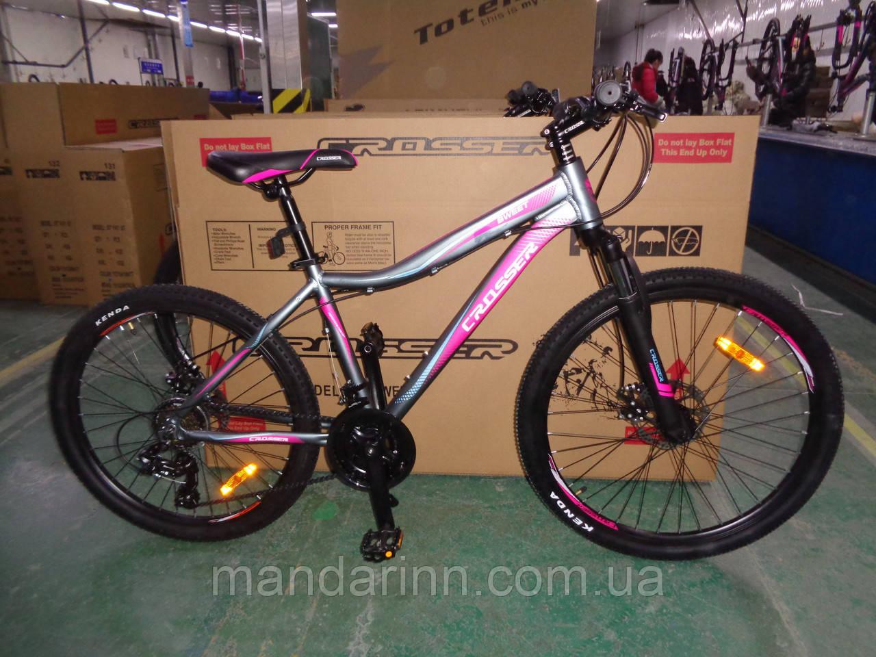 """Велосипед горный алюминиевый Crosser Sweet 26дюймов рама 16"""", Серо-малиновый."""