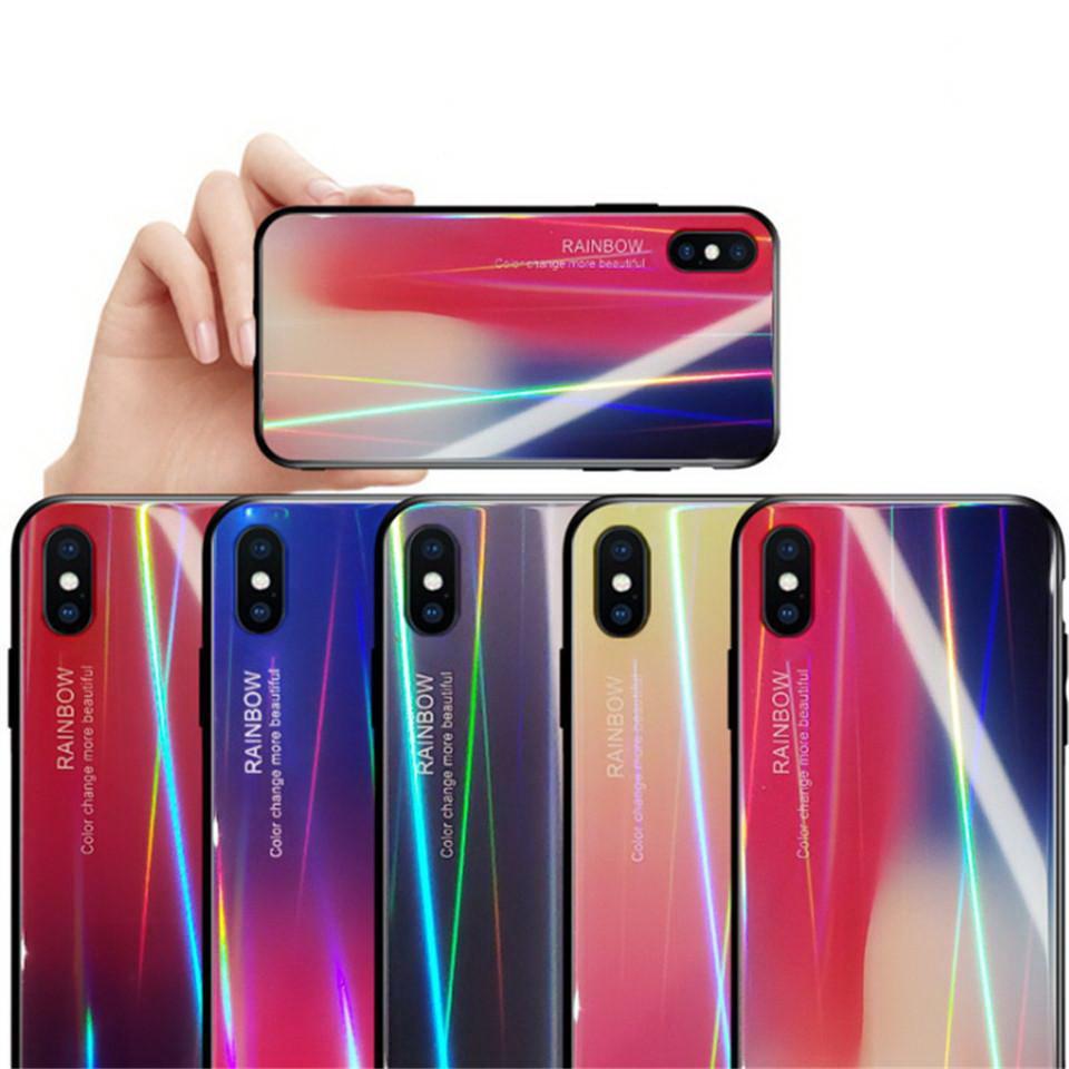 Чехол TPU+Glass Gradient Aurora для Samsung A50 Galaxy A505