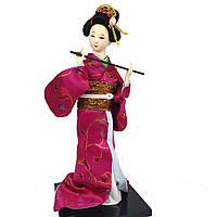 """Китайская кукла нинге """"Китаянка с флейтой"""" 30 см. малиновая (C0329)"""
