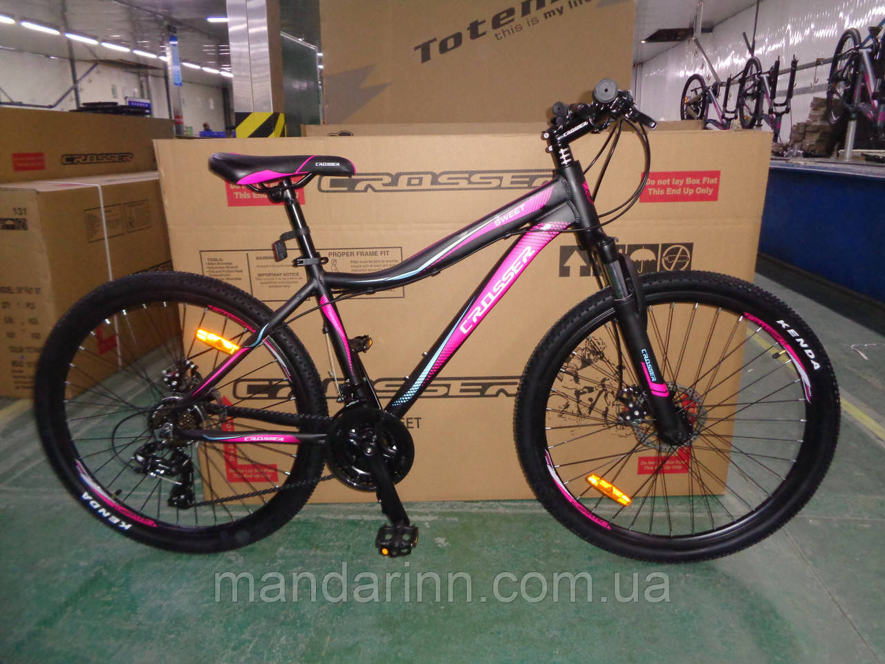 """Велосипед горный алюминиевый Crosser Sweet 24дюйма рама 14"""", Черно-малиновый."""