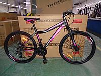 """Велосипед горный алюминиевый Crosser Sweet 24дюйма рама 14"""", Черно-малиновый., фото 1"""