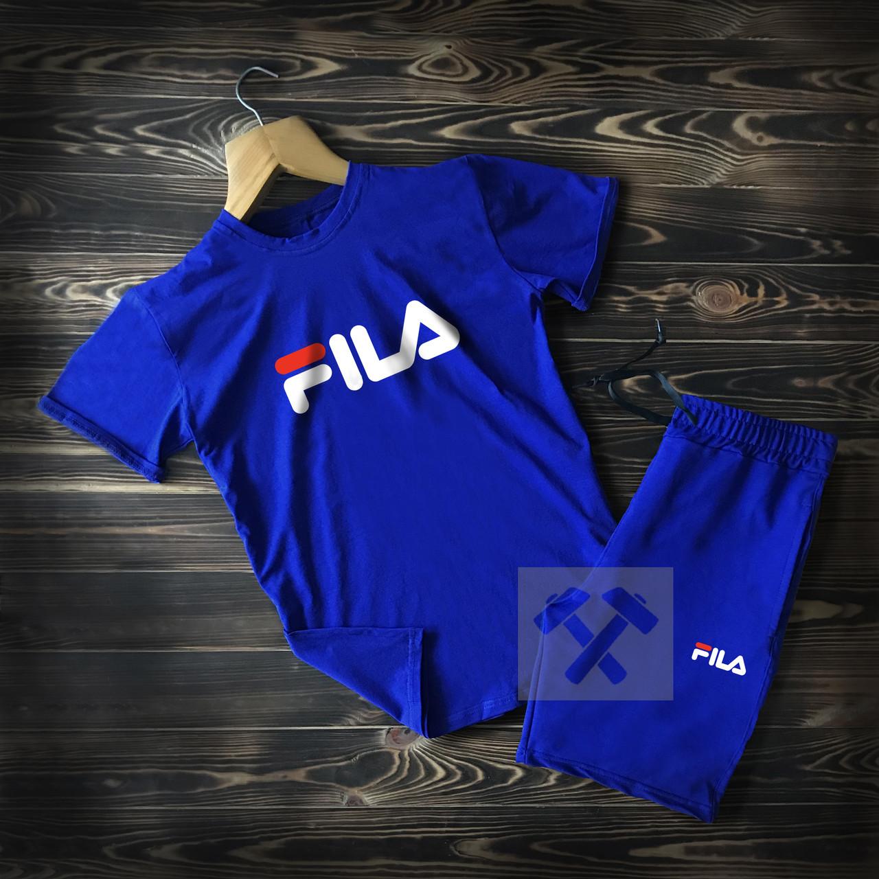 Летний мужской спортивный костюм Fila синего цвета  (шорты и футболка Фила синего цвета)