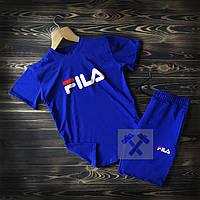 Летний мужской спортивный костюм Fila синего цвета  (шорты и футболка Фила синего цвета), фото 1