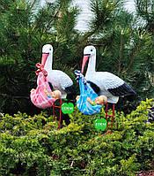Садовая фигура Семья аистов с младенцами №6