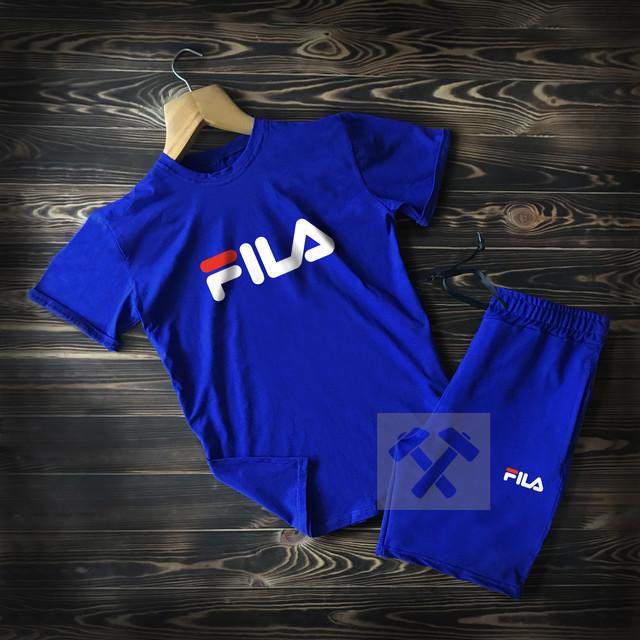 Летний мужской спортивный костюм Fila синего цвета