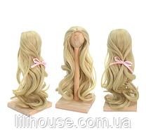 Парик для куклы, локоны пепельный блонд (объем 18-19) - длина около 28 см