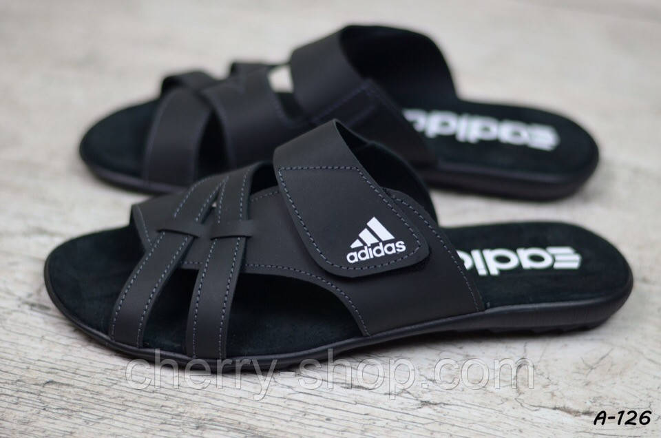Мужские кожаные шлепанцы Adidas