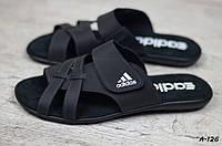 Мужские кожаные шлепанцы Adidas, фото 1