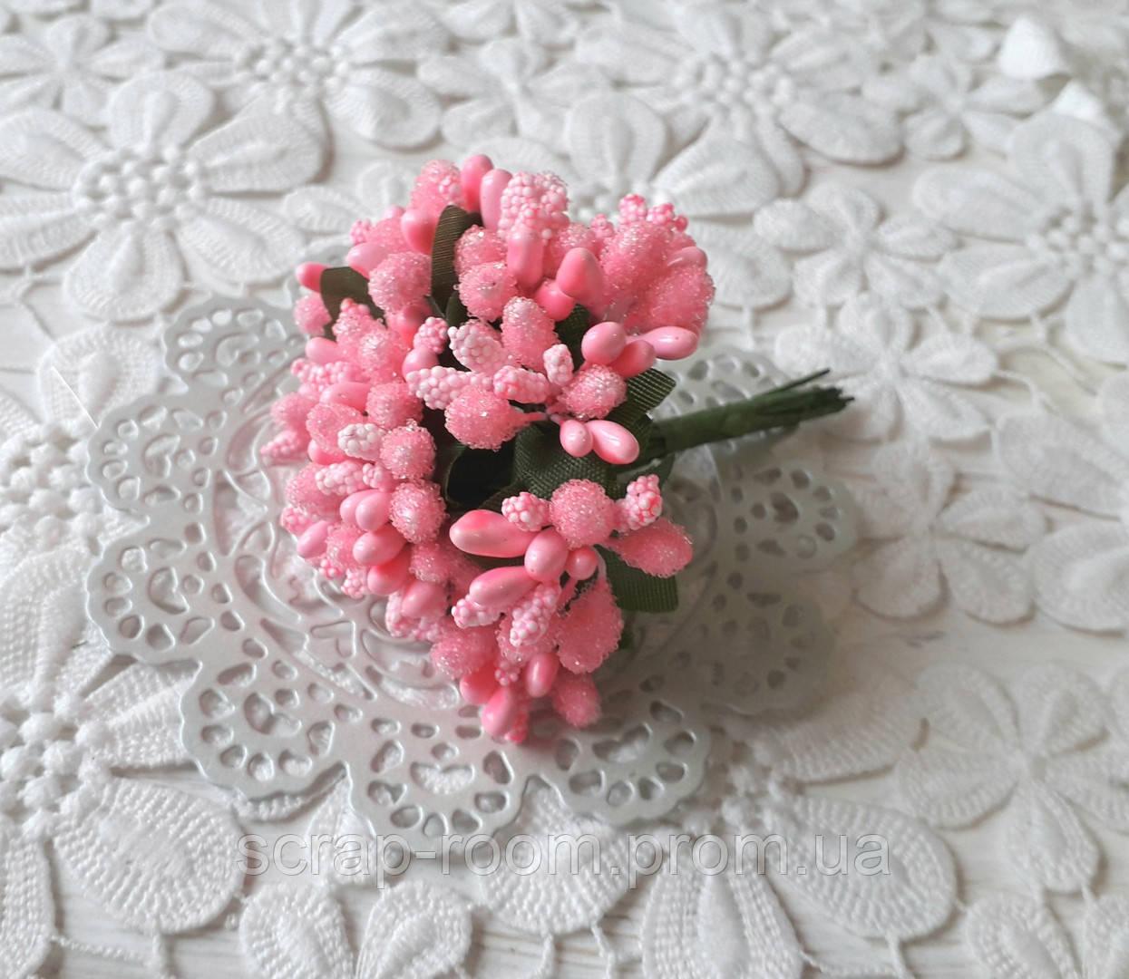 Букет из сложных тычинок розовый, тычинки сложные, розовый букет сложных тычинок, тычинки розовые, букет 12 шт