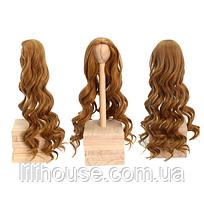 Парик для куклы, локоны теплый русый (объем 22-24) - длина около 45 см