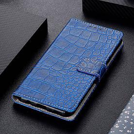 Чехол книжка для Samsung Galaxy M30 M305FD боковой с отсеком для визиток, Крокодиловая кожа, синий