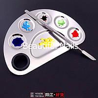 Набор маникюрный, металлический шпатель и палитра для смешивания красок (Радуга) маленькая