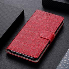 Чехол книжка для Samsung Galaxy M30 M305FD боковой с отсеком для визиток, Крокодиловая кожа, красный