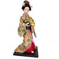"""Китайская кукла нинге """"Китаянка в кимоно с веером"""" 30 см. разноцветная (C0359)"""