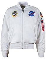 Бомбер NASA MA-1 Flight Jacket Alpha Industries (белый)