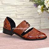Стильные женские туфли на низком ходу, цвет коричневый, фото 2