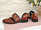 Стильные женские туфли на низком ходу, цвет коричневый, фото 4
