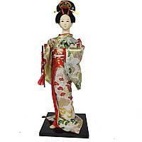 """Японская кукла нинге """"Гейша в кимоно с флейтой"""" 30 см. розовая (C0371)"""
