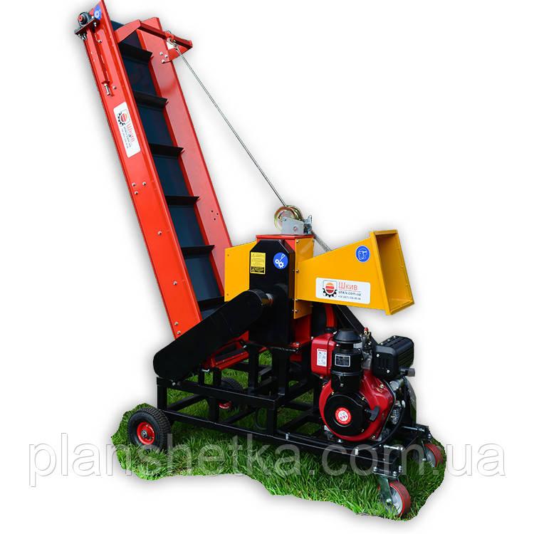 """Измельчитель веток """"Shkiv"""" с транспортером и дизельным мотором, 14 л.с. (диаметр веток 120 мм)"""